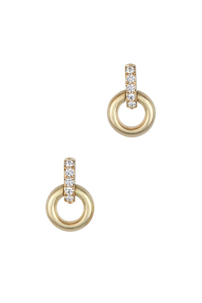 Caroline Ellen - Yellow Gold Small Round Doorknocker Earrings