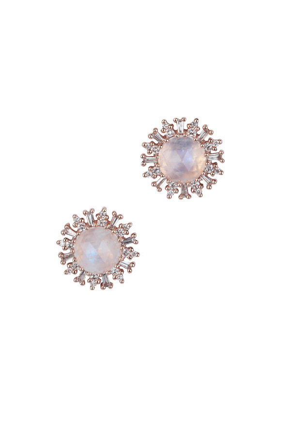 Kai Linz 14K Rose Gold Baguette Moonstone Earrings