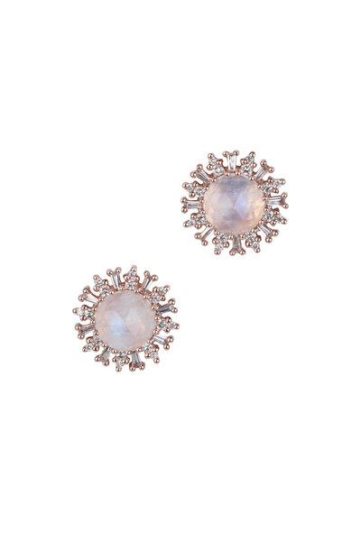 Kai Linz - 14K Rose Gold Baguette Moonstone Earrings
