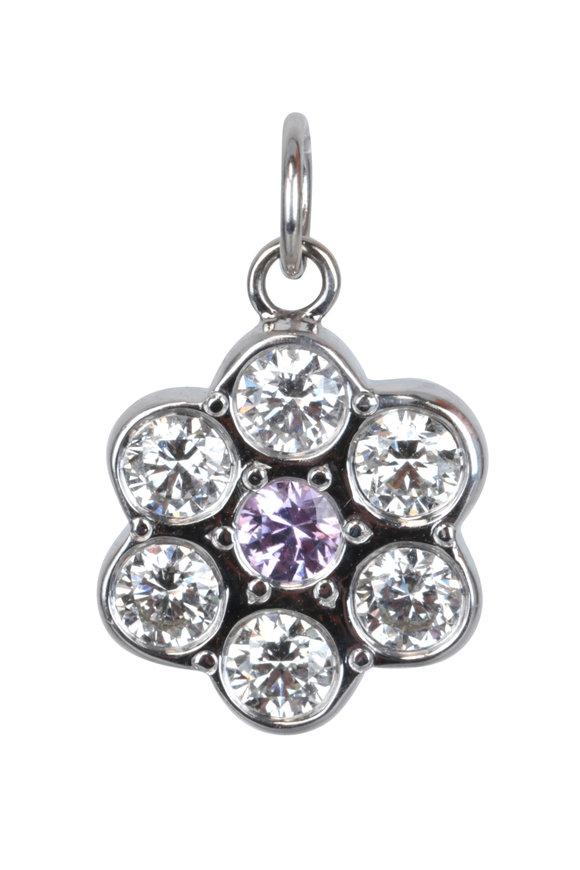 Julez Bryant 14K White Gold Purple Sapphire Flower Pendant