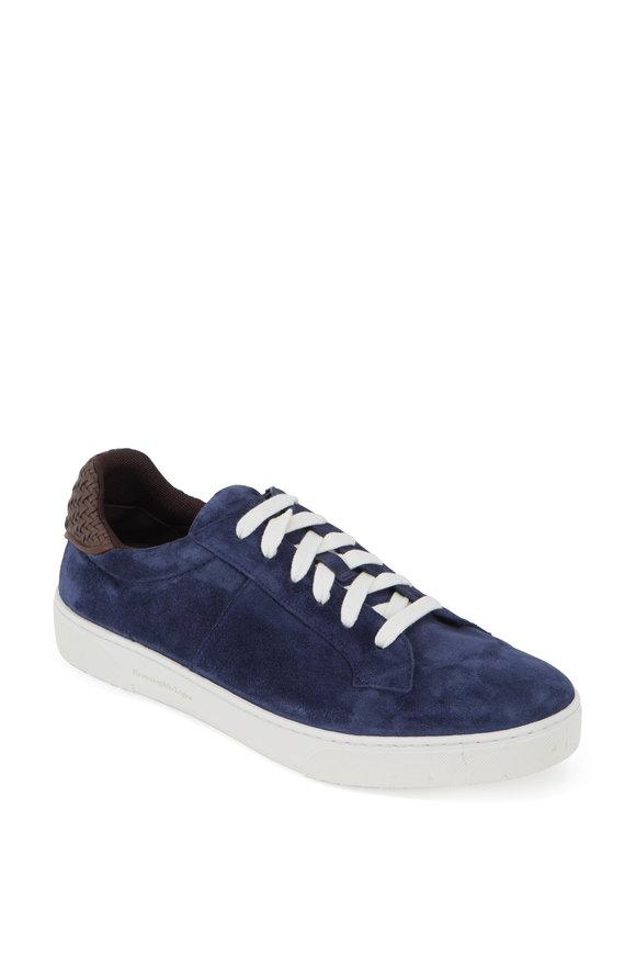 Ermenegildo Zegna Medium Blue Suede Low-Top Sneaker