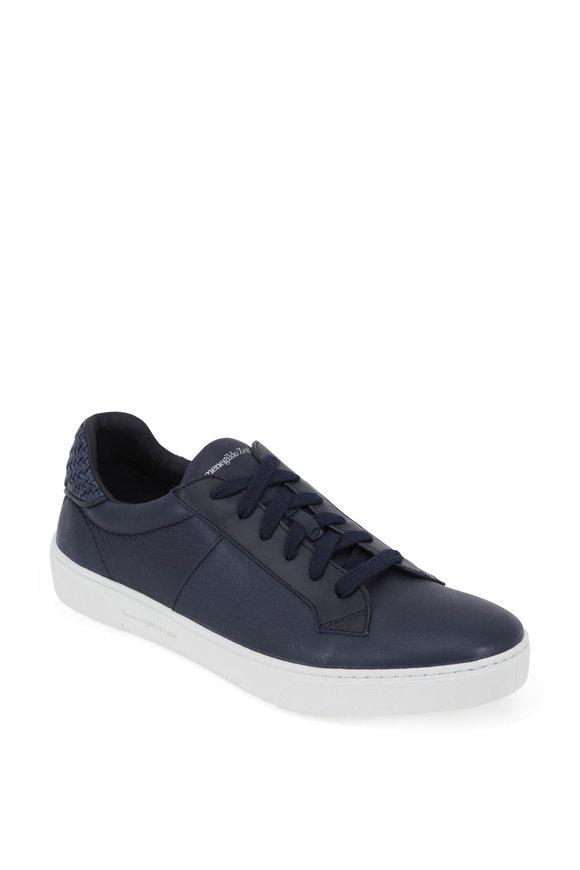 Ermenegildo Zegna Navy Blue Leather Low-Top Sneaker