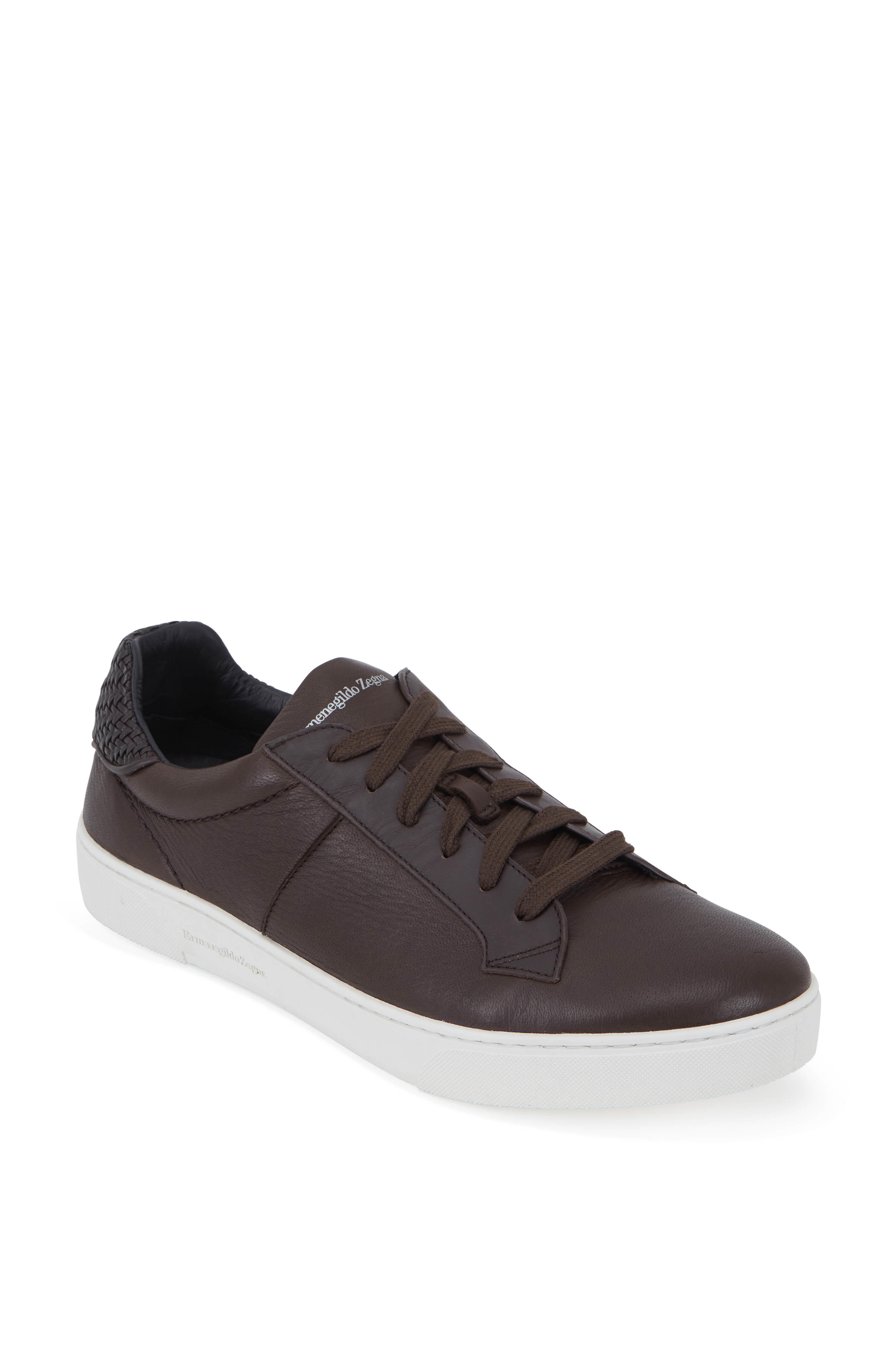 d98d22f2d8c140 Ermenegildo Zegna - Dark Brown Leather Low-Top Sneaker
