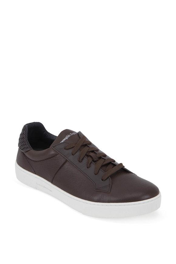 Ermenegildo Zegna Dark Brown Leather Low-Top Sneaker