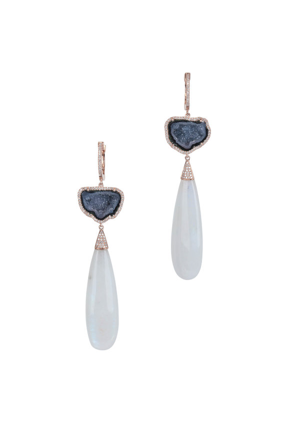 Kai Linz 14K Rose Gold Geode & Moonstone Drop Earrings