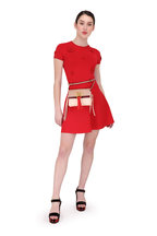 Valentino - Red Embroidered Daisy Stretch Knit Dress