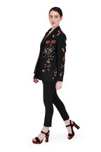 Valentino Garavani - Black Suede Poppy Embroidery Platform Sandal,115mm