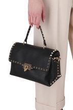 Valentino Garavani - Rockstud Black Leather Top Handle Medium Bag
