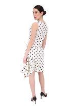 Oscar de la Renta - White & Black Polka Dot Cutaway Dress