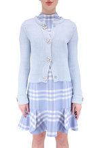 Oscar de la Renta - Baby Blue Wool Blend Knit Jewel Snap Sweater