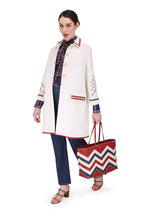 Valentino - Ivory Double Crêpe Wool Embroidered Coat