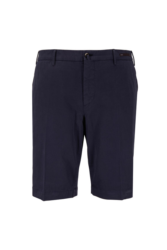PT Pantaloni Torino Navy Blue Cotton Stretch Shorts