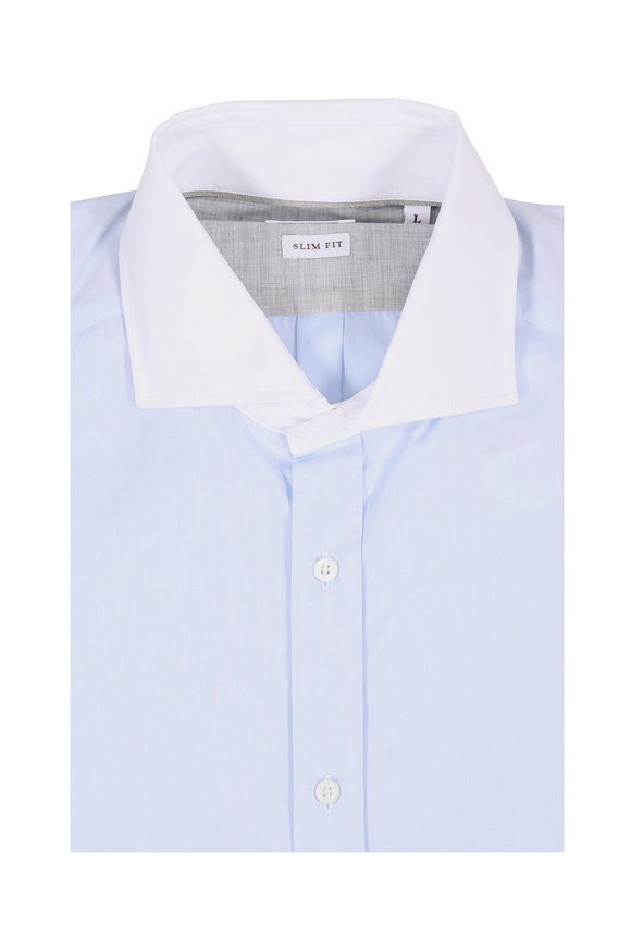 Brunello Cucinelli Light Blue Twill Slim Fit Dress Shirt