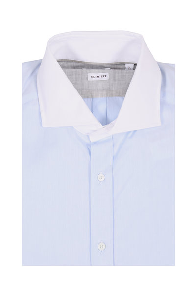 Brunello Cucinelli - Light Blue Twill Slim Fit Dress Shirt