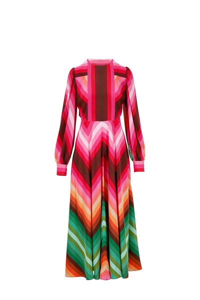 Valentino - Multi Chevron Stripe Long Sleeve Maxi Dress