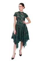 Oscar de la Renta - Basil Green Lace Cap-Sleeve Dress
