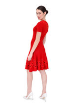 Oscar de la Renta - Red Poppy Hem Fit & Flare Knit Dress