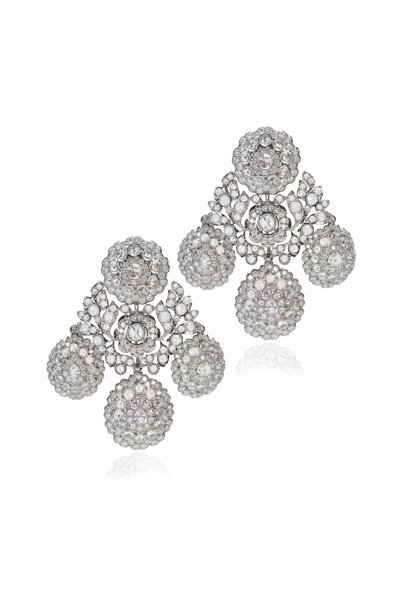 Nam Cho - White Gold & Platinum Sapphire & Diamond Earrings