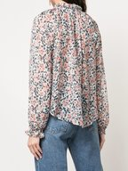 Veronica Beard - Antonette White Floral Ruffled Silk Blouse