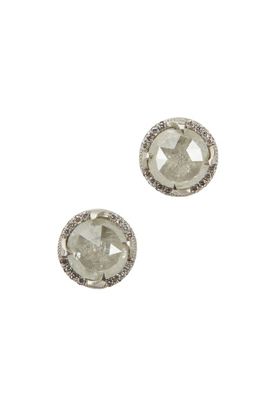 Sylva & Cie - Platinum Rough & White Diamond Stud Earrings