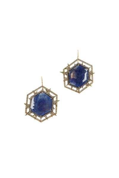 Sylva & Cie - Yellow Gold Sapphire & Diamond Drop Earrings