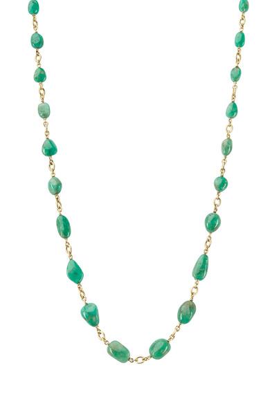 Sylva & Cie - Yellow Gold Green Emerald Bead Necklace