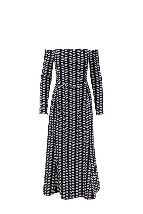Gabriela Hearst Magdavena Poncho Print Cady Off-Shoulder Dress