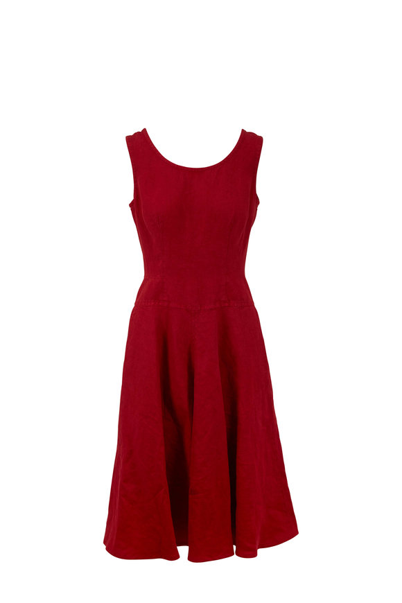 Aspesi Red Linen Scoopneck Dress