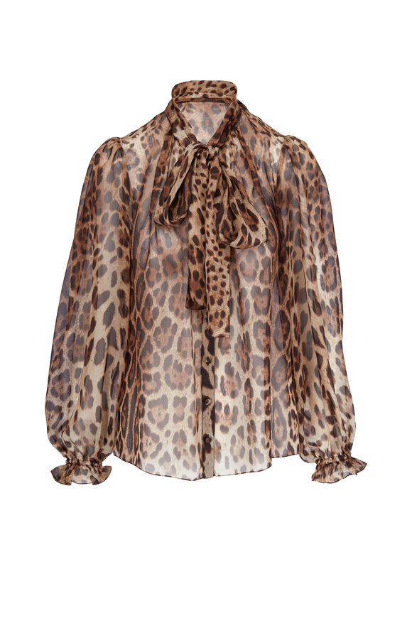 Dolce & Gabbana Leopard Print Silk Sheer Necktie Blouse