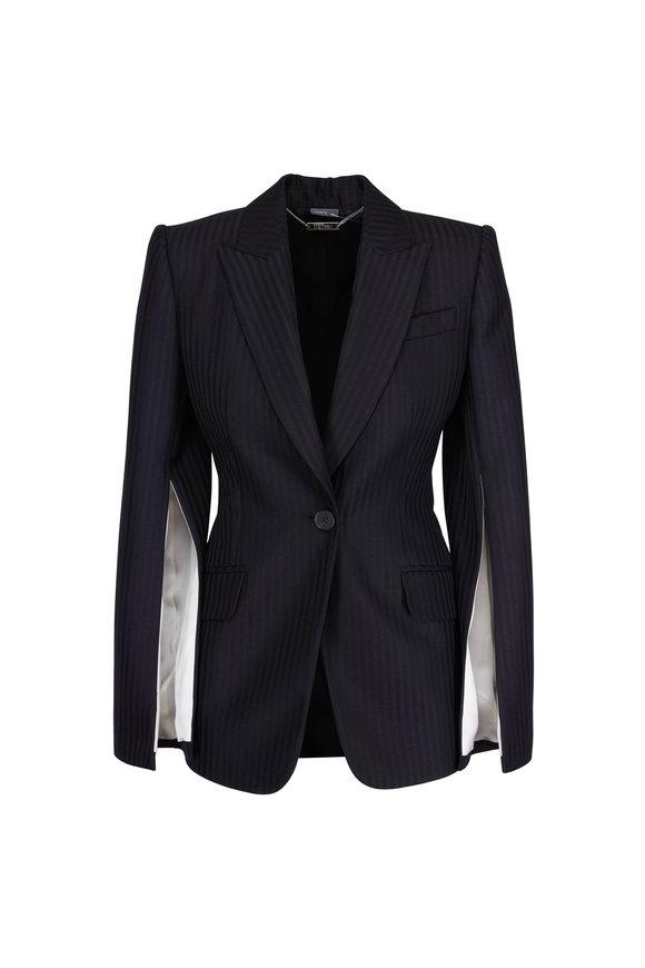 Alexander McQueen Black Tailored Striped Slash Jacket
