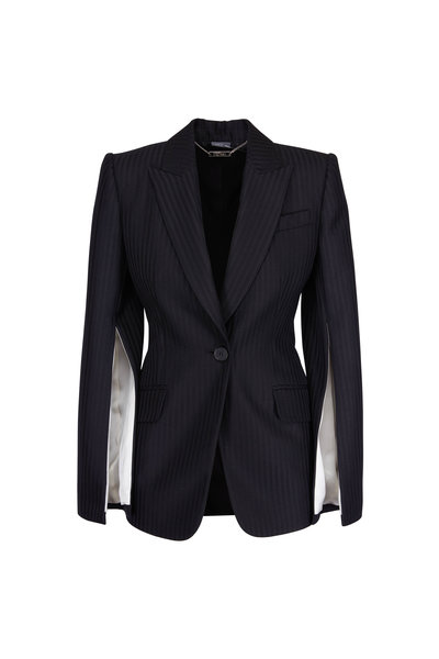 Alexander McQueen - Black Tailored Striped Slash Jacket