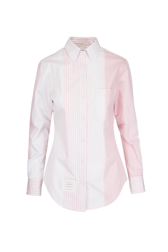 Thom Browne Light Pink Multi-Stripe Button-Up Shirt