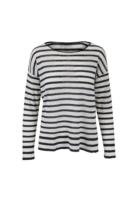 Nili Lotan Hanson Ivory & Black Striped Linen Sweater