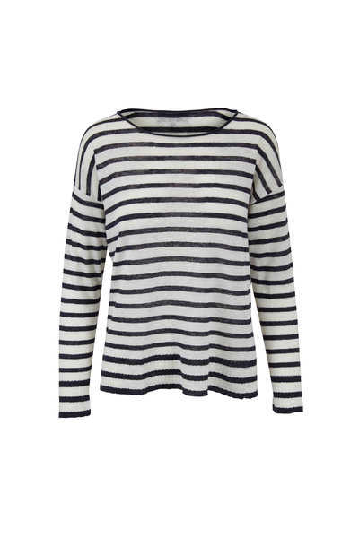 Nili Lotan - Hanson Ivory & Black Striped Linen Sweater