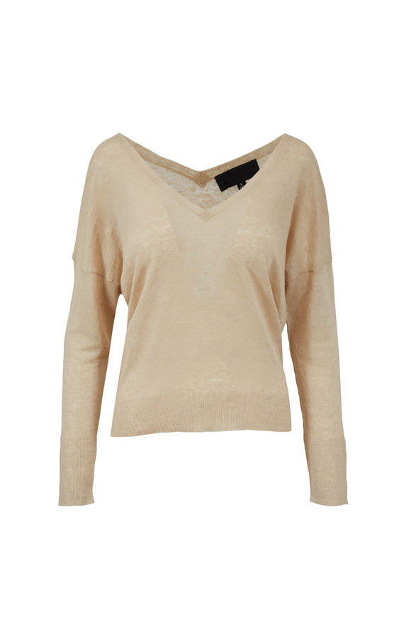Nili Lotan  Nina Almond Linen V-Neck Sweater