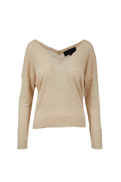 Nili Lotan - Nina Almond Linen V-Neck Sweater
