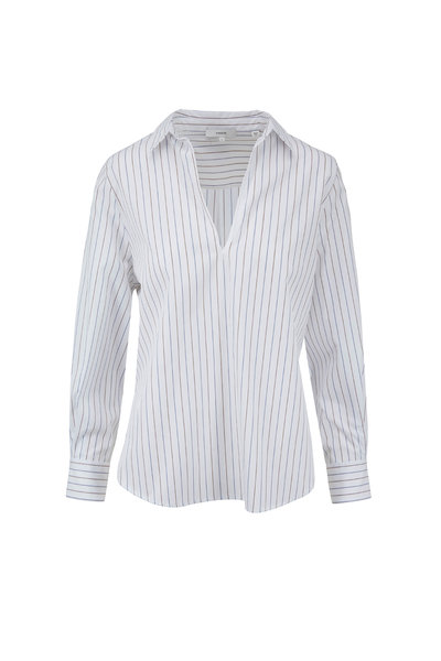 Vince - Optic White Bar Stripe Swing Front Top