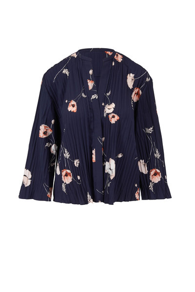 Vince - Marine Tossed Poppy Pleated Blouse