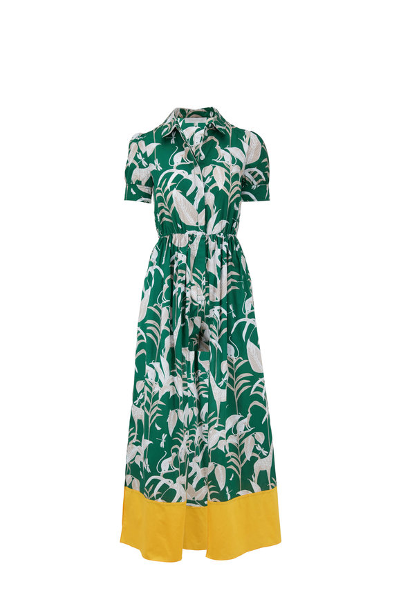 Borgo De Nor Odilia Green Animal Kingdom Short Inset Dress