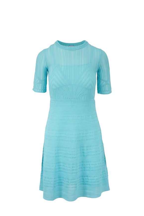M Missoni Aqua Knit Short Sleeve Fit & Flare Dress