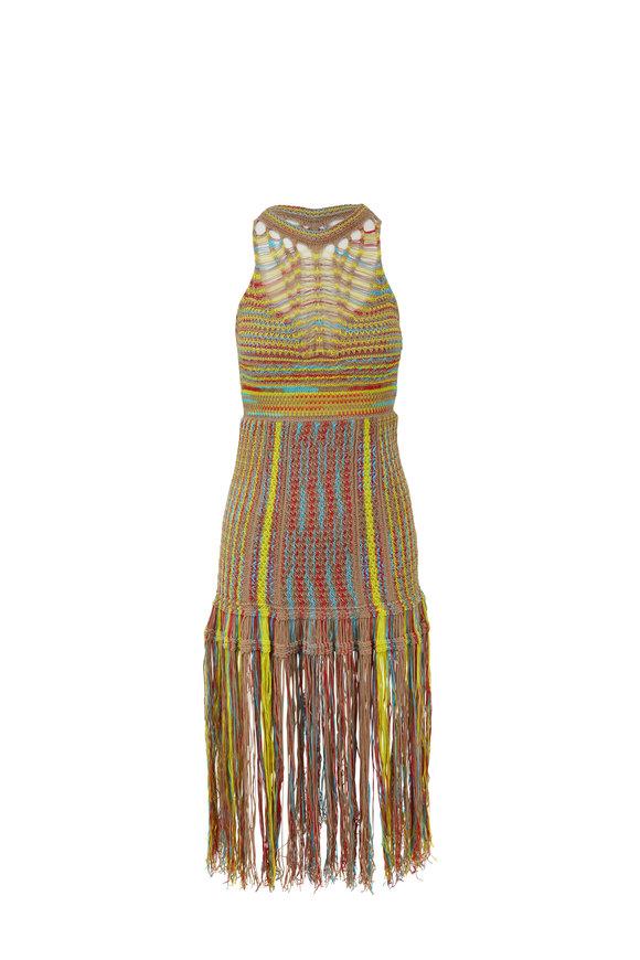 M Missoni Multi-Color Knit Fringed Halter Dress