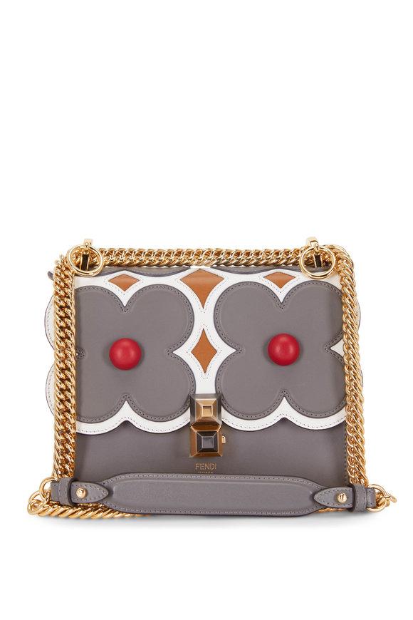 Fendi Kan I Gray & Caramel Floral Scalloped Small Bag