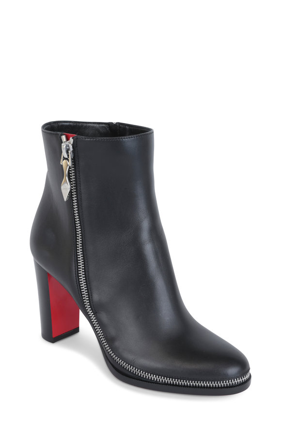 Christian Louboutin Telezip Black Leather Exposed Zip Ankle Boot, 85mm