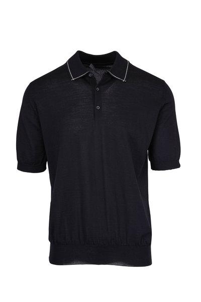 Lanvin - Black Merino Collar Seam Polo