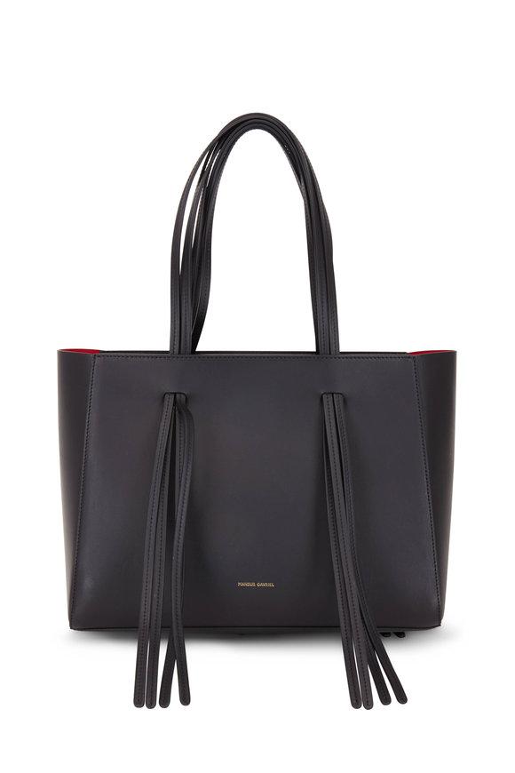 Mansur Gavriel Black & Red Leather Fringed Tote Bag