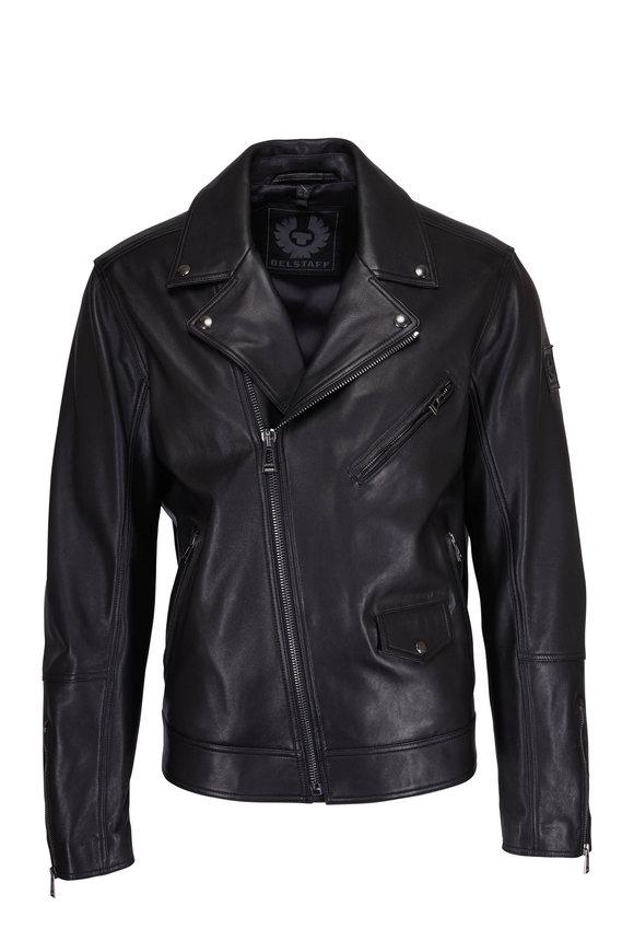 Belstaff Fenway Black Leather Asymmetric Jacket