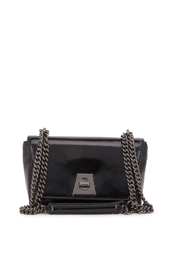 Akris Anouk Black Crinkle Patent Leather Shoulder Bag