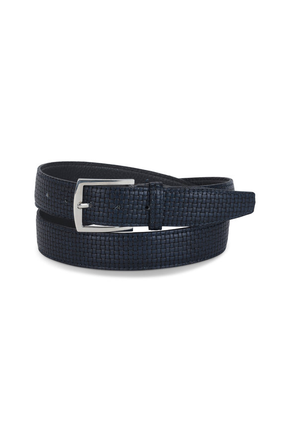 Kiton Dark Blue Textured Leather Belt