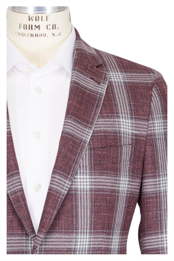 Atelier Munro Red & White Windowpane Wool Sportcoat