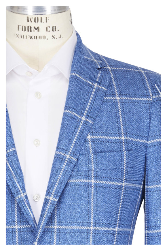 Atelier Munro Bright Blue Windowpane Wool Sportcoat